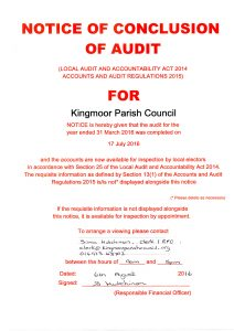 Notice of completion of audit July
